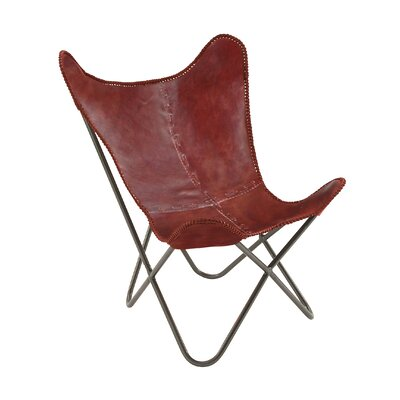 Real Leather Side Chair Color: Burgundy Red