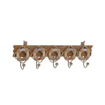 Wood and Metal Lifebelt Wall Mounted Coat Rack