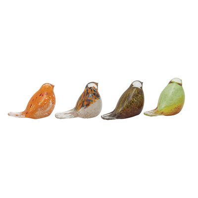 4 Piece Glass Bird Figurine Set 53082