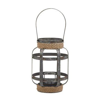Metal and Glass Lantern Size: 12 H x 9 W x 9 D