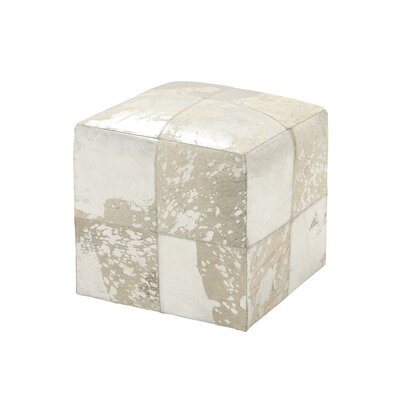 Leather Cube Ottoman Upholstery: Silver/White