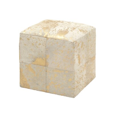 Leather Cube Ottoman Upholstery: Gold/White