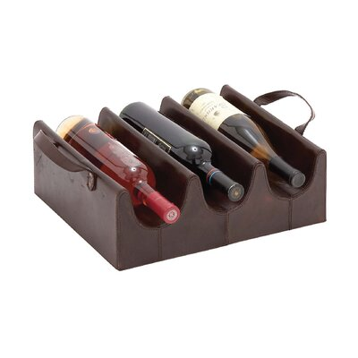 Wood Real Leather 3 Bottle Tabletop Wine Rack Finish: Dark Gray