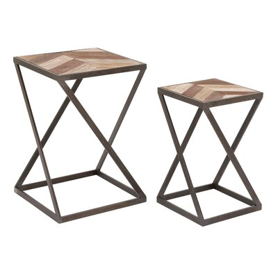 2 Piece Metal and Wood End Table Set