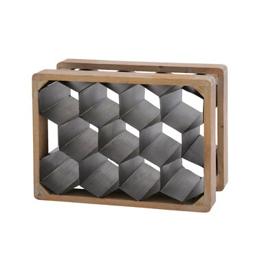 Metal Wood 11 Bottle Floor Wine Bottle Rack