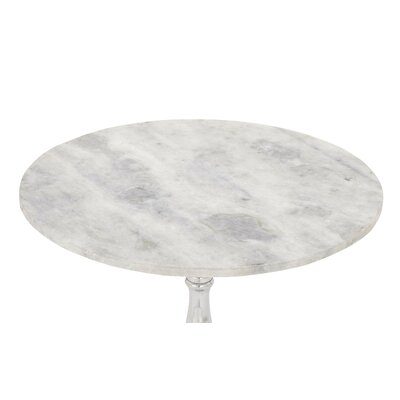 Aluminum and Marble End Table