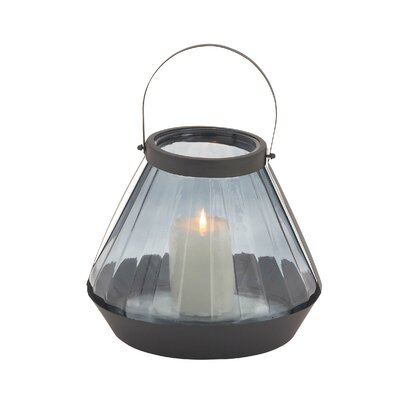 Glass and Metal Lantern Size: 13 H x 11 W x 11 D