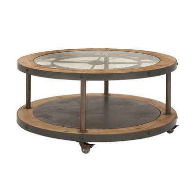 Metal and Wood Clock Coffee Table