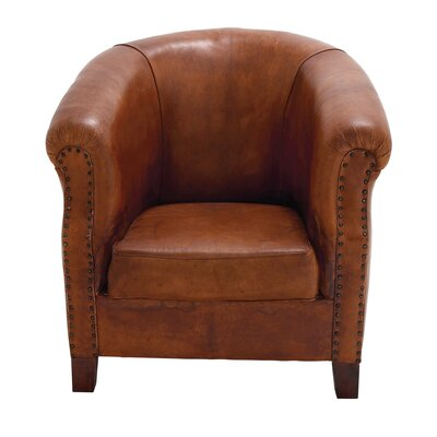 Real Leather Captains Barrel Chair Color: Brown