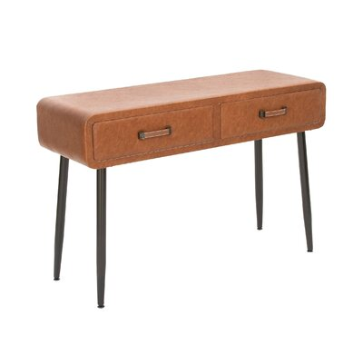 Wood Leather Console Table Finish: Brown