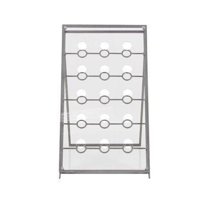 15 Bottle Tabletop Wine Bottle Rack Finish: Gray