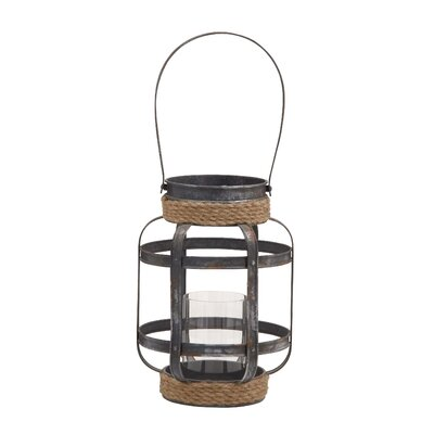 Metal and Glass Lantern Size: 13 H x 10 W x 10 D