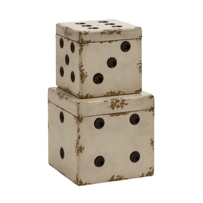 Dice 2 Piece Decorative Box Set Color: White / Black
