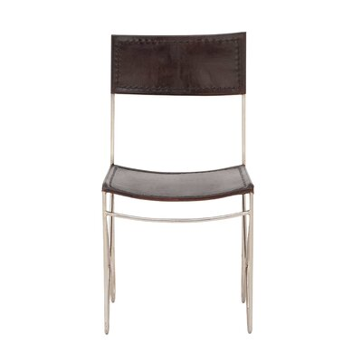 Metal Leather Side Chair Upholstery: Black