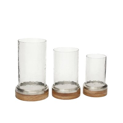 3 Piece Metal and Wood Hurricane Set