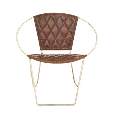 Metal and Leather Papasan Chair Upholstery: Brown