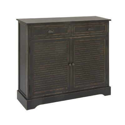 2 Door 2 Drawer Wood Accent Cabinet Finish: Black