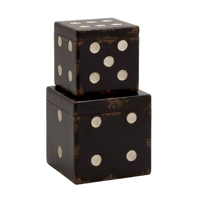 Dice 2 Piece Decorative Box Set Color: Black / White