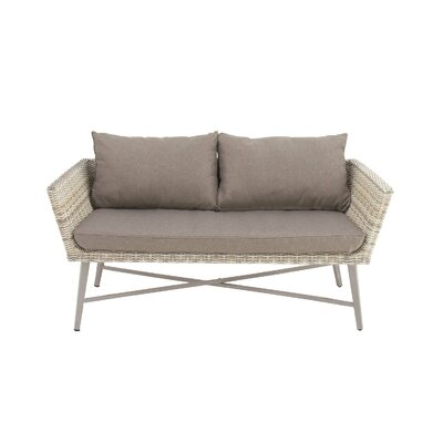 Aluminum PE Wicker Loveseat with Cushions
