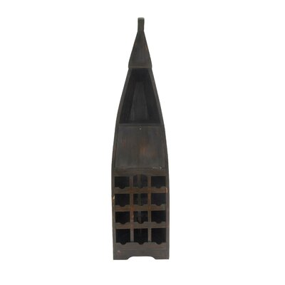 Wood Boat 12 Bottle Floor Wine Bottle Rack