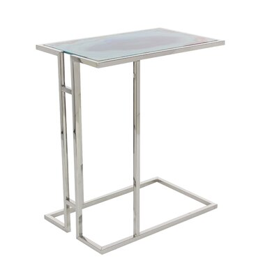 Metal/Glass End Table Table Top Color: Blue