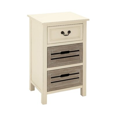 Wood 3 Drawer Nightstand