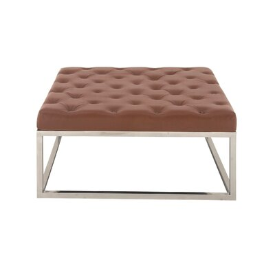 Stainless Steel and Leather Coffee Table Top Finish: Brown