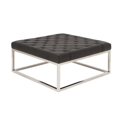 Stainless Steel and Leather Coffee Table Top Finish: Black