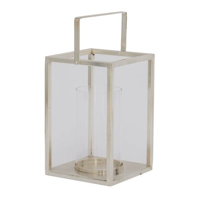 Glass and Metal Lantern Color: Silver