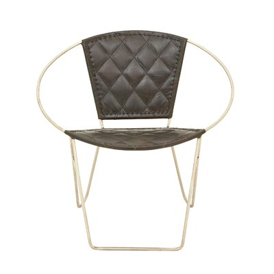 Metal and Leather Papasan Chair Upholstery: Black