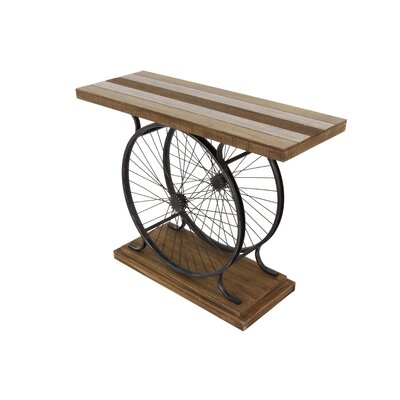 Metal/Wood Wheel Console Decorative Bird Cage