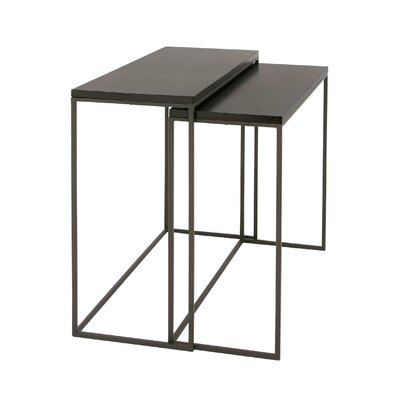 2 Piece Metal Wood Console Table Set