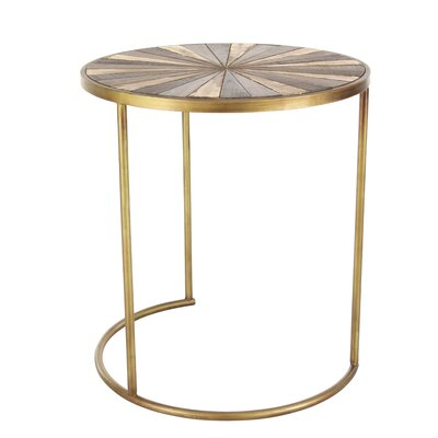 3 Piece Metal/Wood End Table Set
