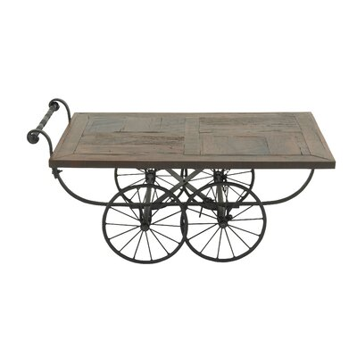 Wood and Metal Cart Coffee Table