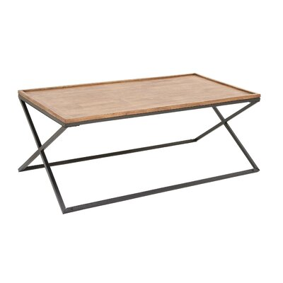 Metal and Wood Coffee Table with Tray Top