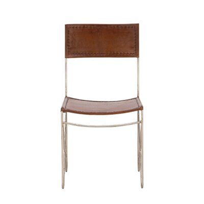 Metal Leather Side Chair Upholstery: Brown