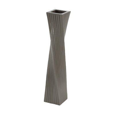 "Ceramic Floor Vase Color: Dark Grey/Medium Grey/Light Grey, Size: 24"" H x 4"" W x 4"" D 87715"