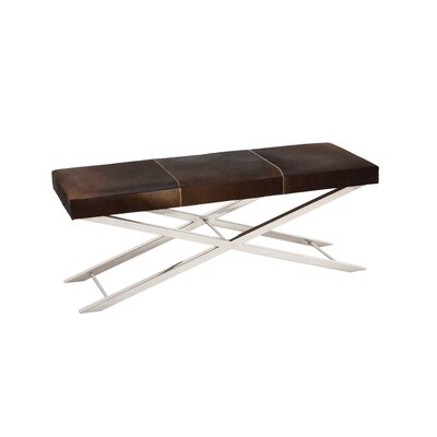 Leather Dining Bench Upholstery Color: Gray