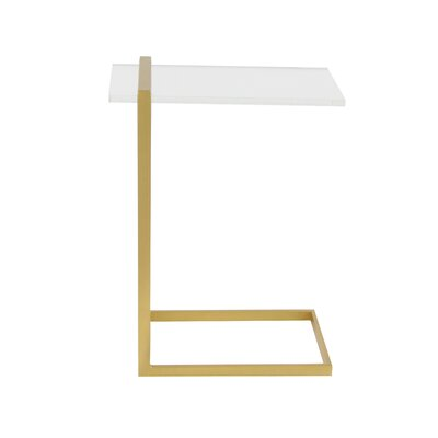 Metal Acrylic End Table Table Base Color: Matte Gold