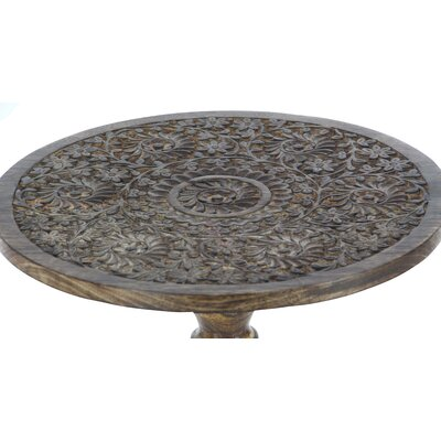 Wood Carved End Table