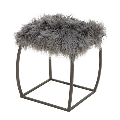 Metal Fur Stool Color: Gray