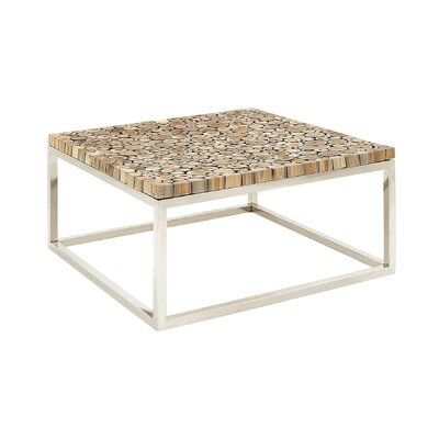 Stainless Steel and Teak Coffee Table