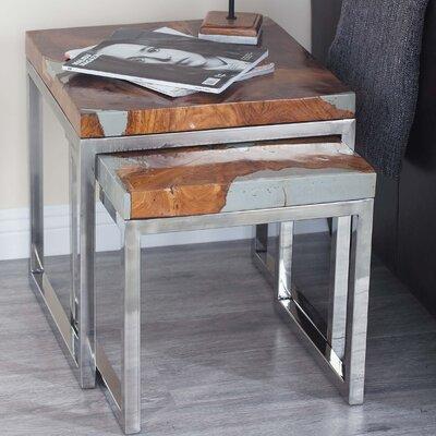 2 Piece Teak Aluminum End Table Set Finish: Black