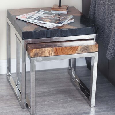 2 Piece Teak Aluminum End Table Set Finish: Gray