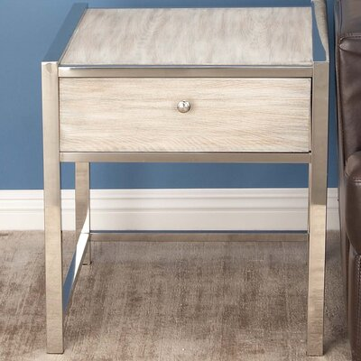 Stainless Steel/Wood End Table