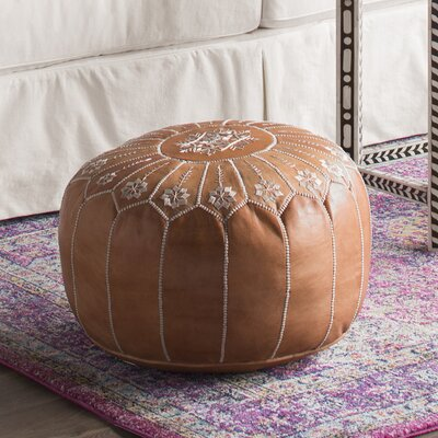 Moroccan Leather Pouf Upholstery: Natural Desert