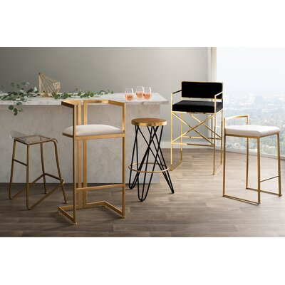 Gary 27 Bar Stool Fabric Color: White, Finish: Gold