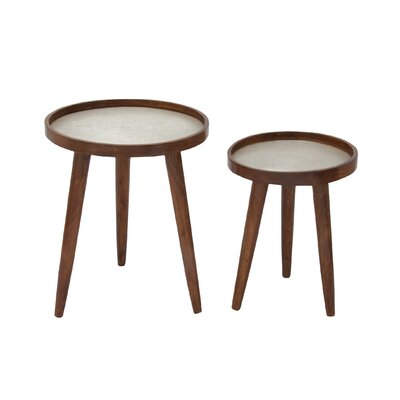 2 Piece Nesting Tables Color: Silver
