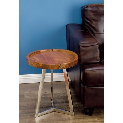 Stainless Steel/Wood End Table Color: Brown