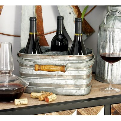 Metal Galvanize 6 Bottle Tabletop Wine Bottle Rack